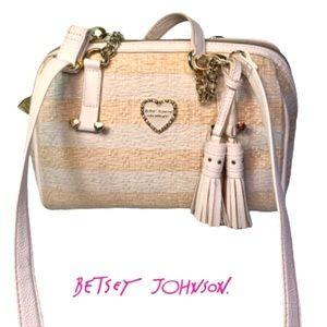 Betsey Johnson Wicker Design Convertible Bag.